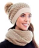 Hilltop Set invernale composto da sciarpa da donna e berretto in maglia coordinato. Berretto con pompon in colori coordinati e di tendenza, 4C-marrone chiaro