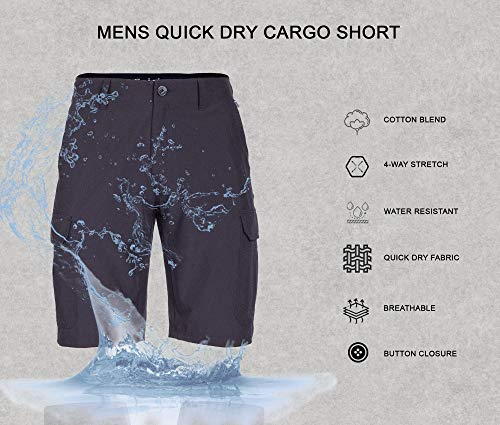 Mens Cargo Shorts Hybrid Quick Dry Stretch Tactical Casual Short
