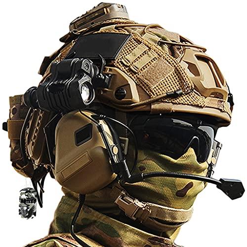 AQzxdc Airsoft Military Fast Helm, Spielsets mit Taktischem Headset & Brille & Teleskopmodell, mit Fortschrittlichem EPP Pad, für Outdoor CS Paintball Jagd Cosplay Halloween,Sets a,M