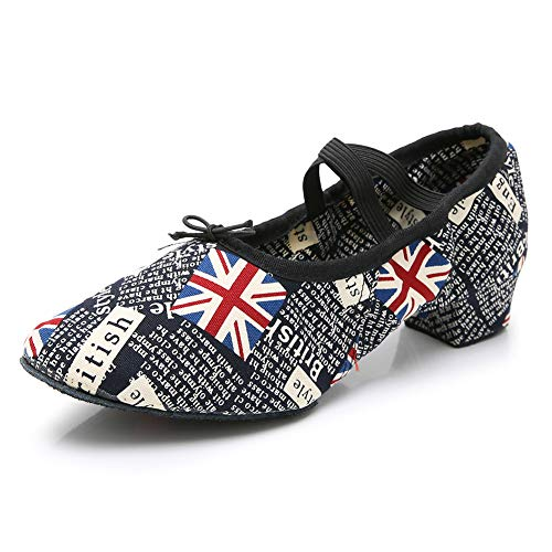YKXLM Zapatos de Baile Modernos y de Salón con Estampado de Lona...
