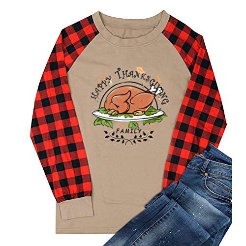 soweilan Damen T-Shirt Happy Thanksgiving, langärmelig, mit Truthahn-Aufdruck, Raglan-Baseballbluse Gr. M, braun