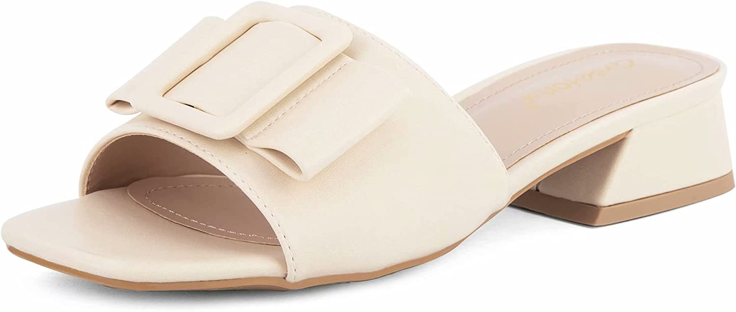 Lowest price challenge Women's Square Open Toe Low Limited Special Price Chunky Heel on Slide Sand Slip Block