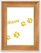 Cat Mewing Animal Pegada Amarela Estampa de Patas Desktop Moldura de Madeira para Foto de Exibição de Imagem Arte Vários C...