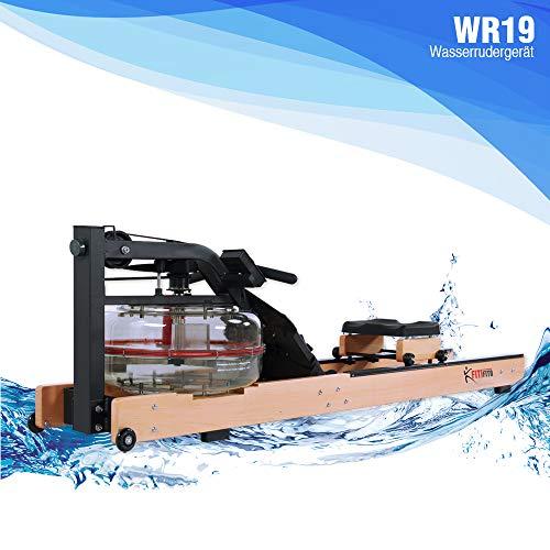 Fitifito WR19 Rudergerät Wasserrudergerät, 170 kg maximales Benutzergewicht, 17l Wassertank, Widerstandseinstellung durch Wassertank-Regulierung, 120 cm Aluminiumgleitschiene, LCD-Display (Buche)