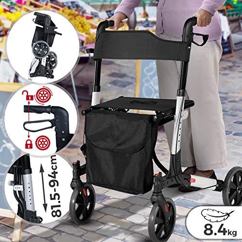 Andador para Ancianos Plegable - Asiento con Respaldo, 4 Ruedas/Frenos/Bolsa Auxiliar & Soporte para Bastón, Altura Regulable, de Aluminio - Rollator, Caminador Mayores ✅