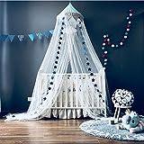 Pabellón de la cama de mosquitero para bebé con estrellas Banderines Carpas colgantes lindas Malla de cortinas Decoración para niños Habitación para niños Princesa Bebé cuna, Azul