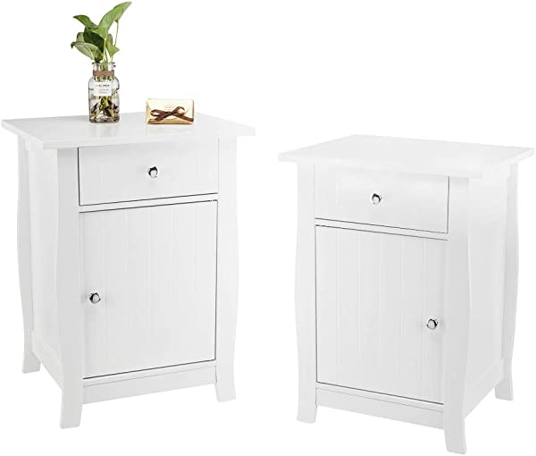 Bonnlo Set Of 2 Nightstand End Side Table With Storage Drawer And Cabinet For Bedroom Living Room Kid S Room White