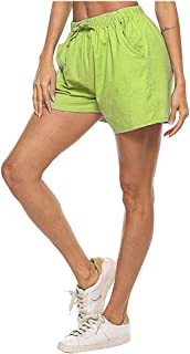 Beishi Womens Casual Drawstring Pants,Women's Cotton and Linen Two Pocket Lace Up Loose Wide Leg Hot Casual Shorts