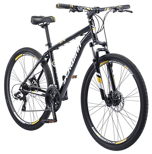 Schwinn GTX Elite Comfort Adult Hybrid Bike, Dual Sport Bicycle, 18-Inch Aluminum Frame, Black/Yellow