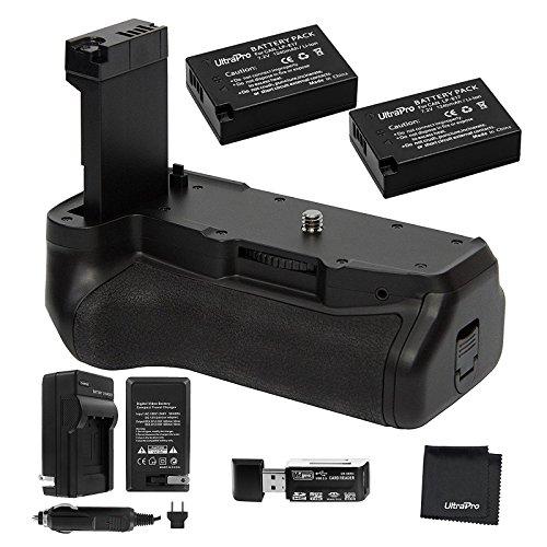 Ultrapro Battery Grip Bundle For Canon Rebel T7i, EOS 77D, 800D: Includes Replacement Grip, 2-Pk LP-E17 Long-Life Batteries, Charger, UltraPro Accessory Bundle