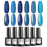 TOMICCA Set di smalti per unghie in gel Collezione Blue Jean Baby Classic Blue Glitter Soak Off Gel UV Nail Art Manicure Kit