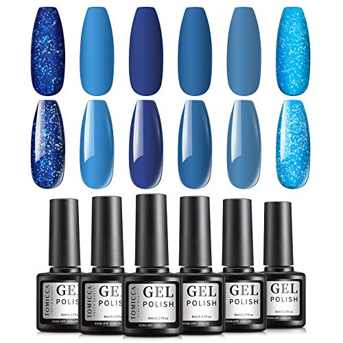 TOMICCA 8ml Gel Nagellack Set, Solide und Glitzer See Wasser Blau Farbe Nagellack, Soak Off UV LED Gel Nail Art Maniküre Set