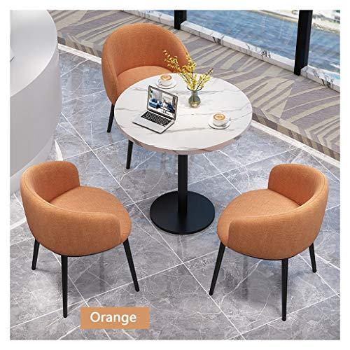 Couchtisch und Stuhl-Kombination, Bürotisch und Stuhl, 3-teiliges Set, Restaurant, Dessert, Shop, Getränkeshop, Burger-Shop, europäisch, modern, 60 cm, runder Tisch mit 3 Stühlen aus Stoff Orange