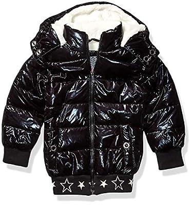 Kensie - Girl's Outerwear Girls' Little Metallic Puffer Jacket, Black, 4