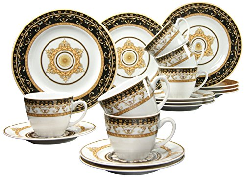 Creatable 15085, Serie Majestosa schwarz, Kaffeeservice 18 teilig, Porzellan, Mehrfarbig, 42x25x20 cm