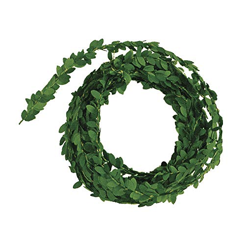 Rayher 5107300 Artificial Boxwood Garland with Wire Core for Table Decorations and Crafts, Mini Buxus Greenery, green, 5 m