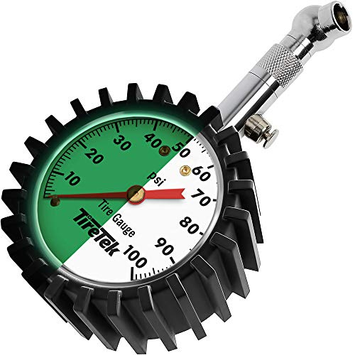 TireTek Tire Gauge 0100 PSI ANSI Certified High Pressure Tire Gauge with Easy to Read Glow Dial Heavy Duty Tire amp Wheel Tools for Trucks SUVs RVs Trailers Pick Ups Motorcycles amp Cars
