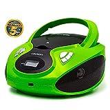 Lauson CP733 Boombox CD Player   Portable Radio MP3 Player with USB Playback   Headphone Jack (3.5mm)   Digital LCD Display   USB port Stereo & Boombox Radio FM (Green)