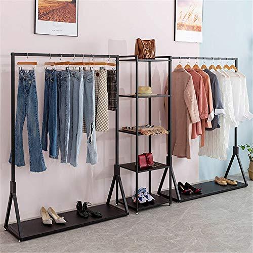 Rieles Ordenados Heavy Duty Oro al por menor de prendas de vestir en rack estante de exhibición de ropa con la parte inferior del estante No empotrable perchas de ropa Estantes para Ropa de Abrigos