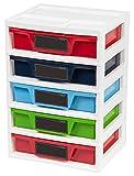 IRIS USA 5 Drawer Storage & Organizer Chest, Assorted Colors Primary