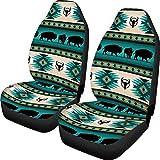 Advocator Front Car Seat Covers Set of 2, Tribal Aztec Bull Print Vehicle Seat Protector Car Mat Covers Saddle Blanket, Fit Most Vehicle, Sedan, Truck, SUV, Van Native American Pattern