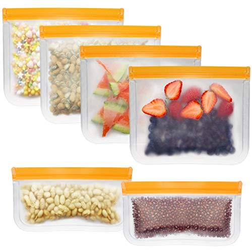 POLAME Sacchetti Riutilizzabili per Alimenti, 6 Pezzi Sacchi Portaoggetti Congelatori Borsa, Ecologico per Pane, Sandwich, Tostapane (Arancia)