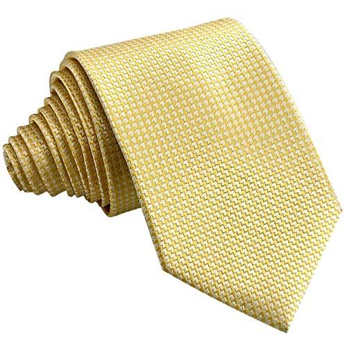 GASSANI Schmale Krawatte 8cm Fein Karierte | Karo Herrenkrawatte zum Sakko Anzug | Schlips Binder mit Gelbe Weisse Karos