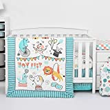 TILLYOU 6-Piece Circus Crib Bedding Set for Boys, Luxury Nursery Bedding Including 1 Padded Comforter, 1 Crib Skirt, 1 Diaper Stacker, 1 Changing Pad Cover, and 2 Standard Crib Sheets, Animals