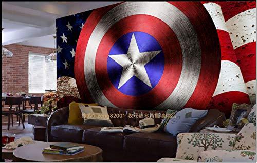 Papel pintado personalizado infantil, Graffiti Capitán América Escudo y bandera, Murales de dibujos animados en 3D para papel tapiz de pared de guardería 250X175Cm