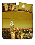 Bassetti Completo Letto Copriletto Singolo Linea Natura 100% Cotone Made in Italy 1 lenzuolo piano (con balza da 40cm), 160x280cm 1 lenzuolo con angoli 90x200cm e 1 federa 50x80cm (New York)