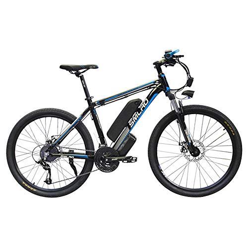 SMLRO Mountain Bike Elettrica, Bcicletta Elettrica 26 '' 1000W con Batteria agli ioni di Litio Rimovibile 48V 15 AH Shimano 27 velocità (Nero-Blu)