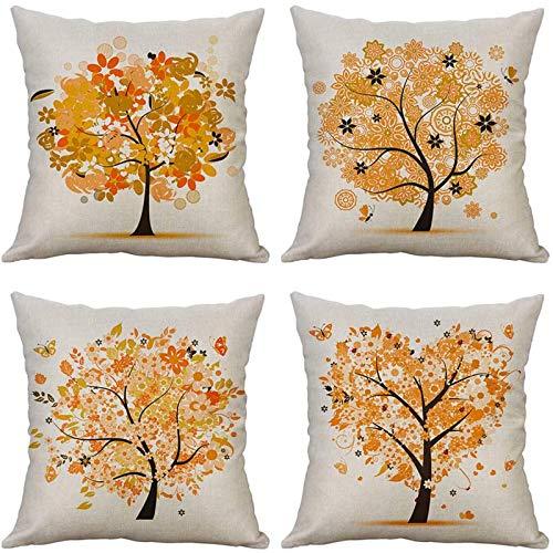 MIULEE Juego de 4 Lino Cojines Árbol Naranja Funda de Cojín Almohada Caso de Decorativo Cojines para Sala de Estar sofá Cama18 x18 Pulgadas 45x45cm