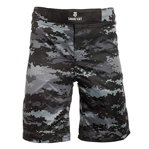 Savage Cut Fight Style MMA Workout Shorts for Use in BBJ, Boxing, MMA, Muay Thai, Krav MAGA (Camo, Large)