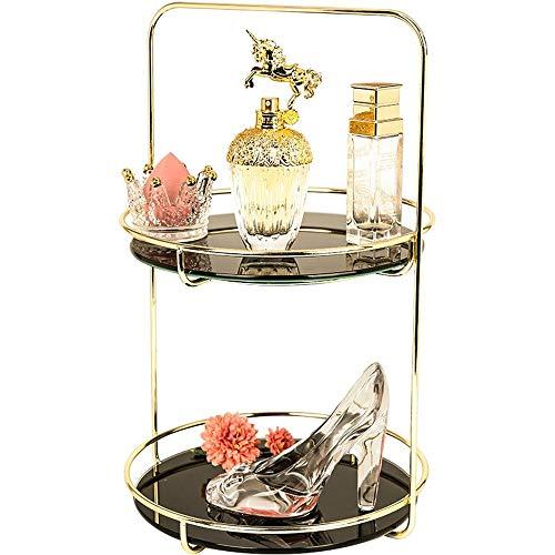 Kcakek Cosmetische Storage Box Hoogwaardige Glazen Huis Dresser Golden Portable cosmetische opbergdoos Desktop Cosmetische Box Badkamer Toilet Cosmetische Storage Rack Dustproof Cosmetic Shelf