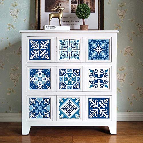 Hiser 10 Piezas Adhesivos Decorativos para Azulejos Pegatinas para Baldosas del Baño/Cocina Estilo Retro Europeo Resistente al Agua Pegatina de Pared (Porcelana Azul y Blanca,15x15cm)