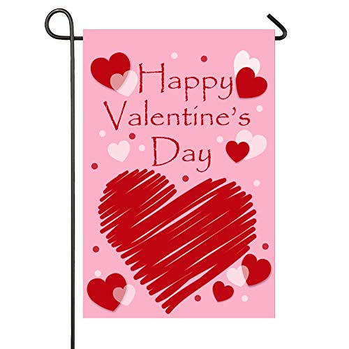 WOONOO Happy Valentine's Day Garden Flag Double Sided for Garden Decorations Valentine's Day Party...