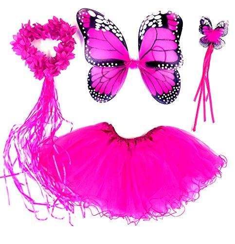 Tante Tina Costume da Farfalla per Bambina - Vestito Farfalla da Bimba in 4 Pezzi: Gonna in Tulle, Ali, Bacchetta e Cerchietto - Fucsia Monarca - Indicato per i Bambini da 2 a 8 Anni