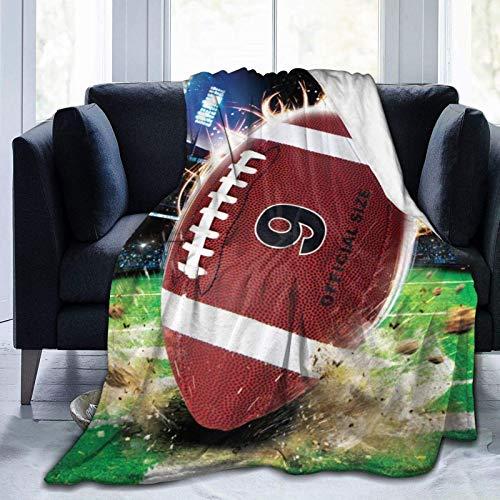256 Manta estampada de fútbol americano, ligera, muy suave, de microforro polar, para sofá, cama, sala de estar, sofá, silla, 50 x 40 pulgadas