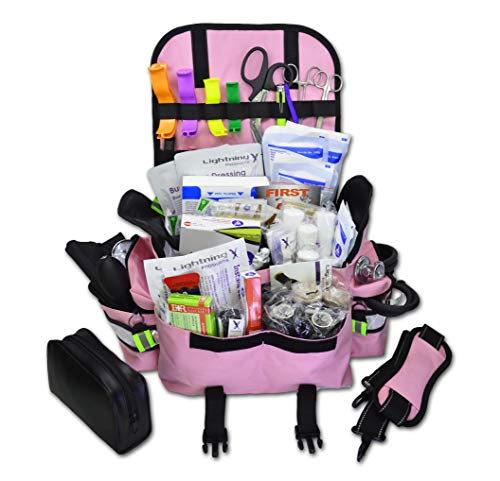 Lightning X Small First Responder EMT EMS Trauma Bag Stocked First Aid Fill Kit B (Pink)