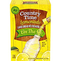 One 10 count box of Country Time Lemonade On-The-Go Flavored Powder Drink Mix Packets Country Time Lemonade On-The-Go Flavored Powder Drink Mix Packets helps keep your family cool on summer's hottest days Convenient lemonade powder is ideal for quick...