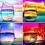 WINAROI 4 Piezas Pintura por números Adultos, Pintura por Números Copa de vino Kits, Pintura para...
