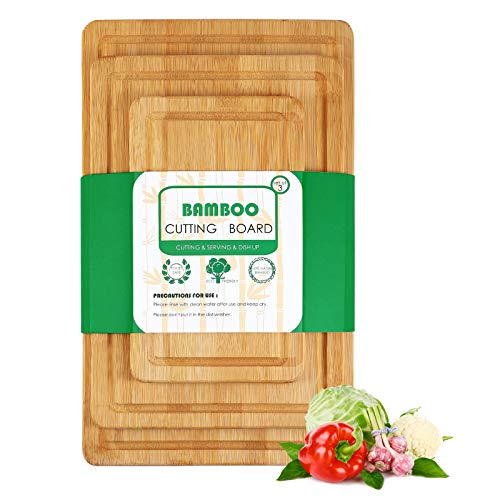 JUZI Large Organic Bamboo Cutting Board For Kitchen (Set of 3) -100% Natural Bamboo Wooden Chopping Boards With Juice Groove For Meat, Vegetables, Cheese and Fruits