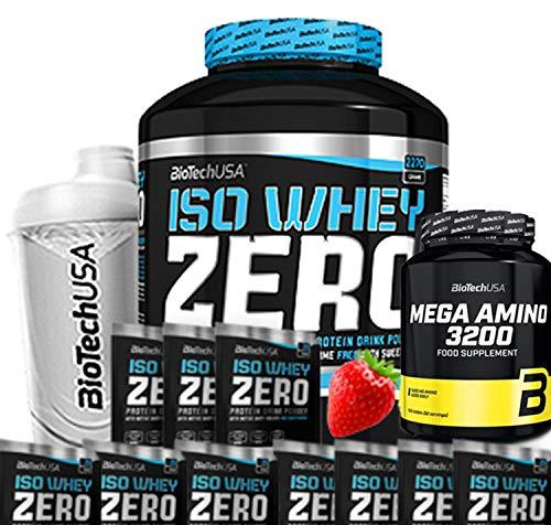 Biotech USA Iso Whey Zero (1 x 2,27 kg) (fragola) + Shaker + 10 campioni + 1 x Mega Amino (500 compresse)