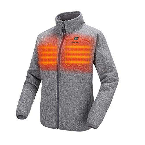 ORORO Women's Heated Jacket-Full Zip Fleece Jacket with Battery Pack (S, Gray)
