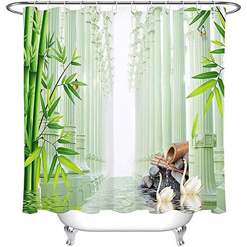 Modern 3D groen bamboe douchegordijn met Zen steen reflectie in waterscène meditatie douchegordijn voor badkamer, waterdichte stof, 122 x H183 CM/48X72 inch