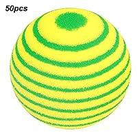 ゴルフアクセサリー  50PCS EVA軽量耐摩耗性屋内練習ストライプゴルフフォームボールカラフルなペット猫エンターテイメントおもちゃボール、安全で非毒性。(4#)