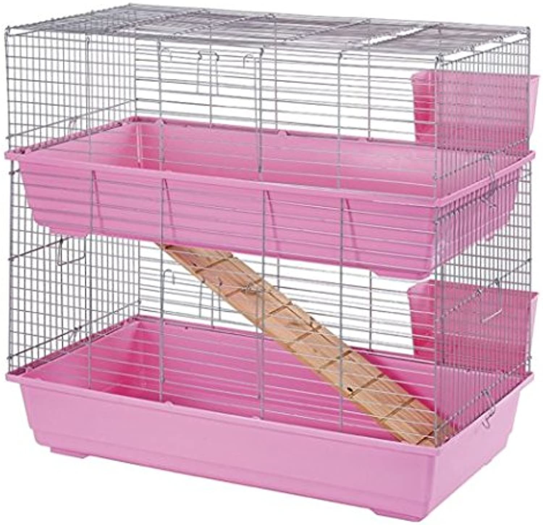 Classic Ritzo Double Rabbit Cage 100x54x44cm Pink