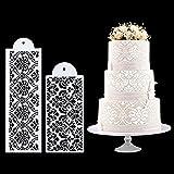 FVVMEED 2 Pieces Cupcake Stencil Cake Side Decorating Templates Powdered Sugar Sieve Template Wedding Cake Decor Flower Edge Molding, Lace Decoration Stencils Food Grade Plastic Mold Baking Tool