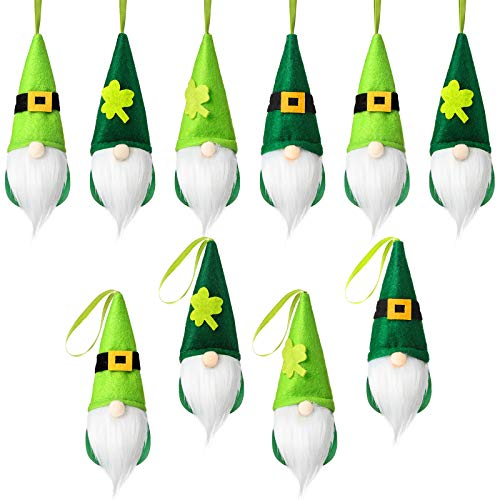 12 Pieces St. Patrick's Day Gnome Leprechaun Swedish Gnome Ornaments Set Irish Leprechaun Gnome Tomtees Irish Gnome Elf Scandinavian Gnomes for St. Patrick's Day Christmas (White)