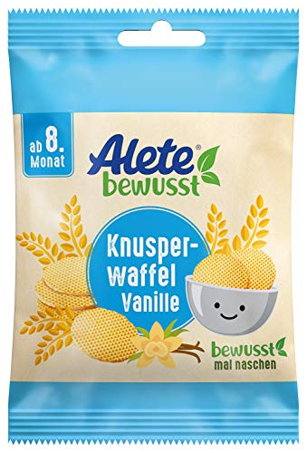 Alete Knusperwaffel Vanille, Kinder-Snack für zuhause & unterwegs, zum selber essen, ohne Palmöl, ab dem 8. Monat, 8er Pack (8 x 6 g)